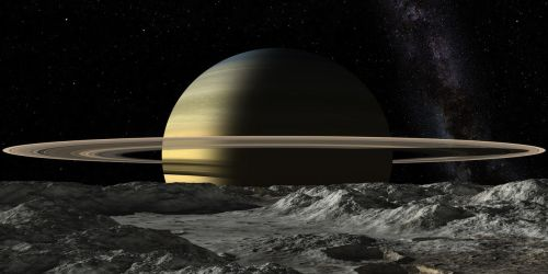 Saturn from Mimas by uxmal750ad