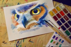 Eagle-owl sketch WIP by Michelle-Winer