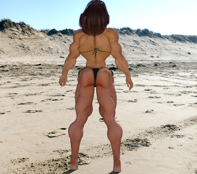Candi on the Beach, Back Pose by kittyelfie