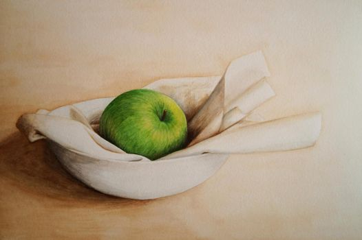 Green Apple in White by Itherin