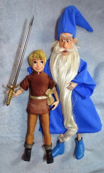 Merlin + Young King Arthur Doll Sword in the Stone by SetsunaKou