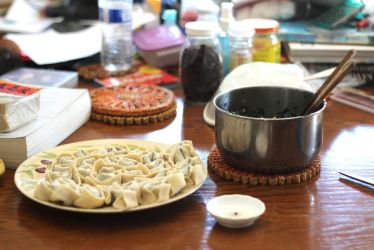Potstickers in the Making by AtomicBrownie