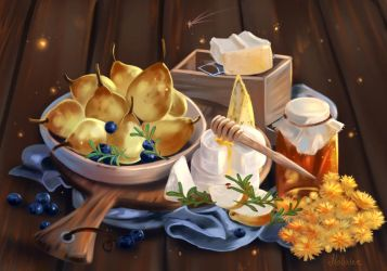 Still Life with Pears by Mellodee