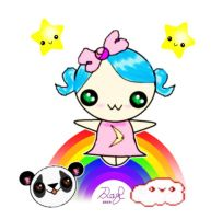 Kawaii Rainbow Girl by Daryl-the-cartoonist