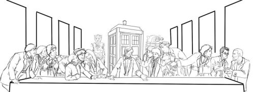 WIP Doctor Who Last Supper by teutelquessir