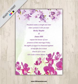 Watercolor Marriage Invitation Card Free Vector by 123freevectors