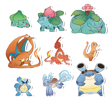 Pokemon Stickers Set 11 by Applewaffles