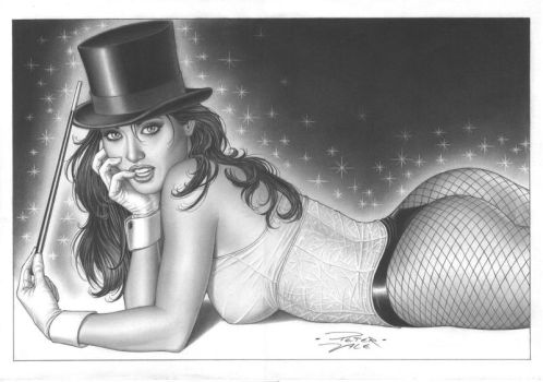 Zatanna layout later finalized in shades of gray. by petervale