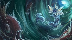 Vaporeon Used Whirlpool by Cilverlining