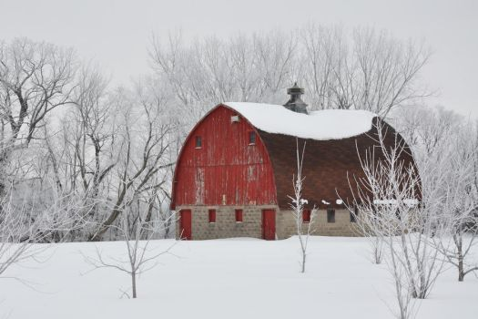 Red Barn and Frost by sushi-robots