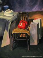 Still life with red phone by MrsBrushwood