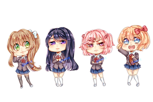 Doki Doki Litterature Club Chibi's by Feish