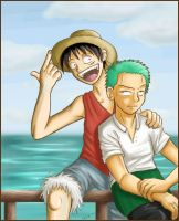 Luffy and Zoro on the sea by firnantowen