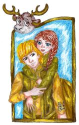 Kristoff and Anna in Gold by IsisConstantine