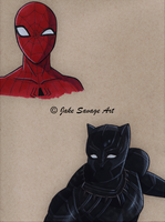 Spiderman and Black Panther by Fires-storm