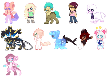 big ol batch of chibi coms by royalraptors
