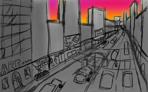 STREET SCENE USING PERSPECTIVE by inflammablepapers