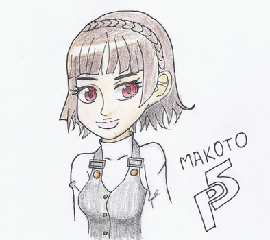 Makoto Bust ~Color Pencil Practice~ by aRBy125