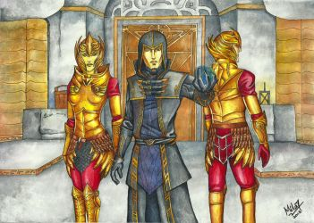 Ondolemar and Thalmor Soldiers by Grace-Zed