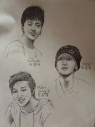 B.A.P Youngjae, Zelo, and Jongup by Midnight-Spectrum