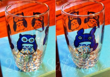 Totoro Owls (painting on cup) by Sillageuse