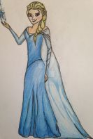 Elsa from frozen sketch and pencil coloured by themillenniumarmoury