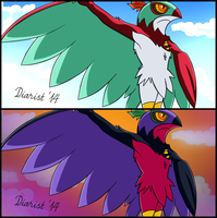 Hawlucha anime redraws! (With shiny version!)