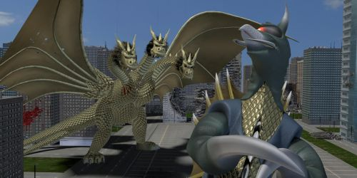 Gigan looks smugly at Ghidorah by Vrahno