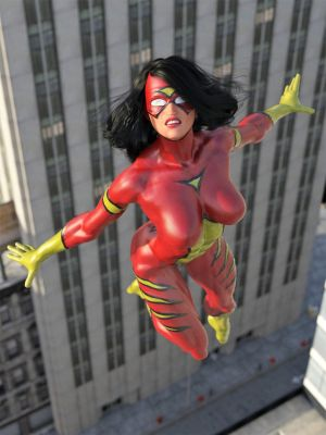 Spider-Woman in mid air by DahriAlGhul