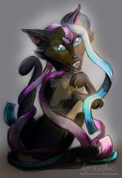 Commssion Cat playing with Ribbons by Mad--Munchkin
