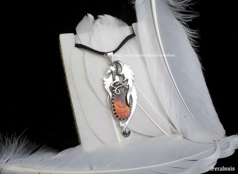 'Dragon flame' sterling silver pendant by seralune