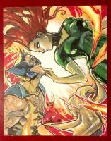 WOLVERINE and PHOENIX Sketch Cards by Renae De Liz by RayDillon