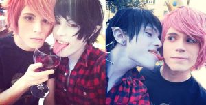Gumshall, Drink the red-  Marshall Lee + Gumball by hakucosplay