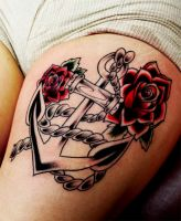 anchor with roses by Richroyalty