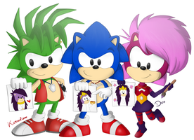 Collab - Sonic Underground the artist hedgehogs by Karneolienne