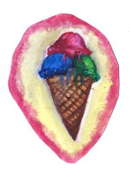Watercolor Ice cream cone test by AceAttorneygirl