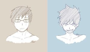 AO NO EXORCIST | Okumura Twins by SombrePies