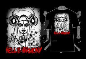 my art for HELL IS HARMONY band t shirt by MWeiss-Art