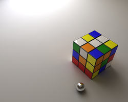 Wallpaper::Rubiks Cube + Ball by QOAL