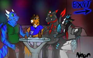 At The Club With Friends by neonhelldragon