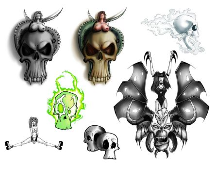 Great Skulls Tattoo Flash page by discipleneil777