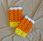 candy corn-colored fingerless gloves by UnbridledMuse
