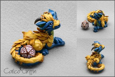 Turquoise armored Cayo Dragon - dice holder by CalicoGriffin