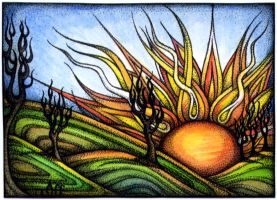 Green Fields ACEO by TapWaterTaffy