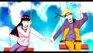 Naruto and Hinata on swing by suiken by suiken22