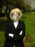 Blonde and glasses with zentai by JLAvenger2