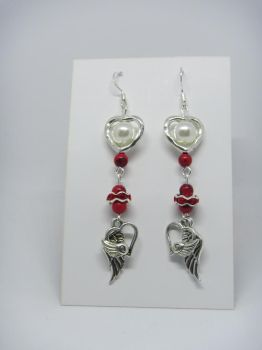Red howlite with hearts and wings by IngaleCreations