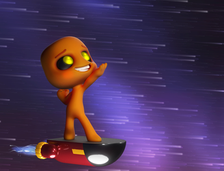 Zbrush Doodle: Day 1297 - Hoverboarding by UnexpectedToy