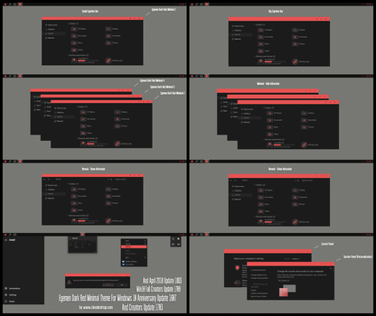 Egemen Dark Red Minimal Theme Win10 April 1803 by Cleodesktop