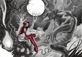Red Riding Hood and the Werewolf in chains by francescoacquaviva